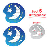 Moon cartoon: Spot 5 differences!. Concentration game for children: Spot 5 differences between the two pictures Stock Image