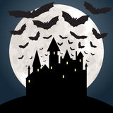 Moon, castle and bats Royalty Free Stock Image