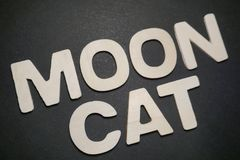 Moon Cat. White letters on black background text type graphic illustration design message creative pedryj royalty free stock photos