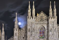 Moon on cathedral steeples, Milan Stock Photo