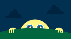 Moon Peeking. Moon character peeking above the grass stock illustration