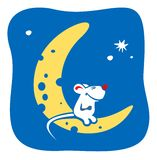 Moon-cheese. The little mouse sitting on the moon-cheese on a background of the star sky Stock Photo