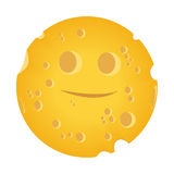 Moon-cheese. A yellow moon-cheese on a white background. Vector illustration is available Royalty Free Stock Images