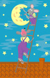 Moon-cheese and two little mouse. Two little mouse hammering the moon on the star sky. Vector illustraion Stock Image