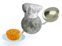 Moon chef with mooncake Stock Photography