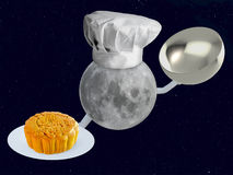 Moon chef with mooncake Stock Photo