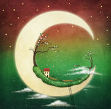 Moon  and cherry tree Stock Images