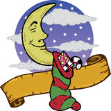 Moon at Christmas with a stocking Stock Images