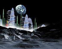 Moon City Royalty Free Stock Photo