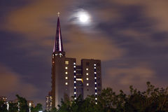 Moon in the city Royalty Free Stock Photos