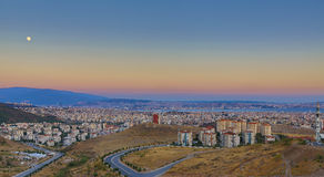 Moon and The City - An HDR View from Izmir Stock Image