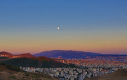Moon and The City - An HDR View from Izmir Royalty Free Stock Photography