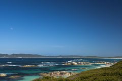 Moon, clear Sky and Ocean in Albany Western Australia Stock Image