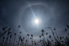 Moon clock -unusual full moon halo light Royalty Free Stock Images
