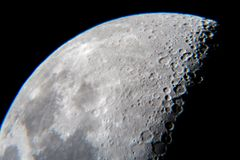 Moon closeup with craters  from telescope Royalty Free Stock Images