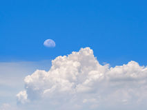 Moon and cloud on morning with blue sky Stock Photos