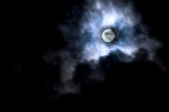 Moon in cloud movement. Royalty Free Stock Photo