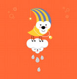 Moon and Cloud in the sky. Cute kawaii animalistic cartoon Royalty Free Stock Image