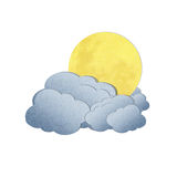 Moon and cloud on white background. Grunge recycled paper moon and cloud on white background Royalty Free Stock Photo