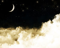 Moon and clouds. Vintage clouds with a crescent moon background Royalty Free Stock Photo