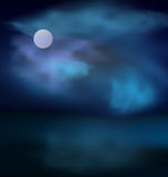 Moon and clouds on dark stormy sky. Moon and clouds above the sea on the background of dark stormy skies - Vector vector illustration
