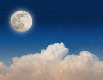 Moon and clouds Stock Images