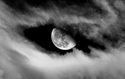 Moon and Clouds Stock Photos