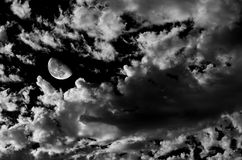 Moon and Clouds Stock Photo