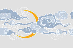 Moon and clouds.  Seamless border. Vector illustration in oriental style Stock Images