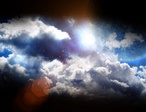 Moon with clouds and stars Royalty Free Stock Image