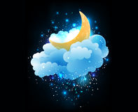 Moon, clouds and stars. Royalty Free Stock Image