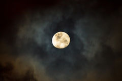 The Moon at Cloudy Night. The moon covered by the clouds at cloudy night in the monsoon season. Long exposure photography Royalty Free Stock Images