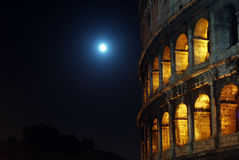 The Moon at the Coliseum Stock Photos