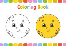 Moon. Coloring book for kids. Cheerful character. Vector illustration. Cute cartoon style. Hand drawn. Fantasy page for children. Coloring book for kids stock illustration