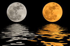 2 moon 2 colors and shadows Royalty Free Stock Image