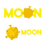 Moon. Companys logo with a yellow planet. Vector illustration Stock Image