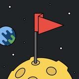 Moon con la bandiera nello spazio, nel risultato e nel concetto di successo Fotografia Stock