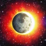 moon contro l'eclissi lunare e solare combinata sole- Immagini Stock