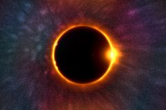The moon covers the sun in a beautiful solar eclipse. On nebula background. Digital illustration Stock Image