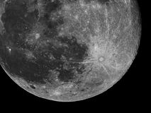 Moon details and crater Tycho observing over telescope stock photography