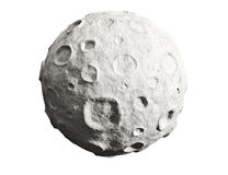 Moon and craters. Asteroid. Moon on a white background. Lunar craters and bumps. 3D image of the full moon. Isolated Royalty Free Stock Photography