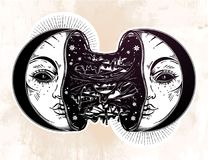 Moon crescent broken in two half open and full of slime goo. Decadence eclipse. Creepy sci-fi, tattoo art. Isolated vector illustration. T-shirt print. Sad Stock Photo