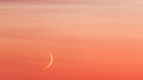 Moon crescent and pastel colors sunset sky Royalty Free Stock Photography