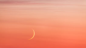 Moon crescent and pastel colors sunset sky Royalty Free Stock Images