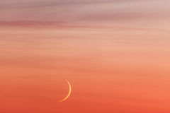 Moon crescent and pastel colors sunset sky Stock Photo