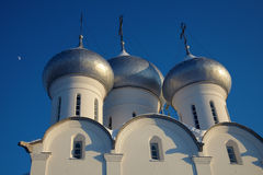 Moon and cupola of Sophia cathedral, Russia Stock Photo