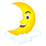 Moon. Cute cartoon illustration of a smiling happy moon crescent relaxing on clouds Stock Photo