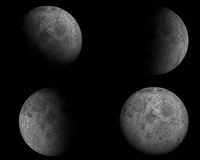 Moon. 3D image of 4 different moon sights with black background Royalty Free Stock Photos