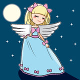 Moon Dancing Angel. Cute blond angel dancing under the moon light and stars Royalty Free Stock Photos
