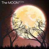 Moon in dark night background Royalty Free Stock Photo